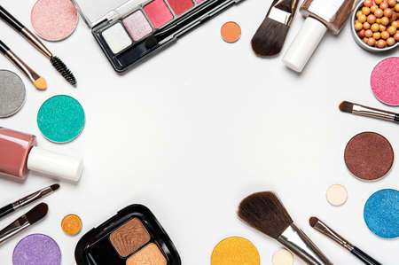 Set of decorative cosmetics on a white background. Flat lay, top view. Imagens