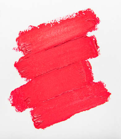 Lipstick stroke for make up as sample of cosmetic product on white background Stock Photo