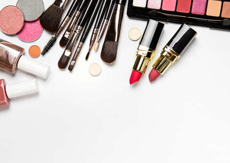 Set of decorative cosmetics on a white background. Flat lay, top view. Archivio Fotografico