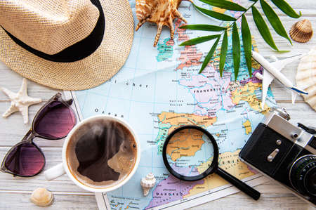 Overhead view of Traveler's accessories. Essential vacation items. Travel concept background. Flat lay Stock Photo