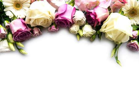 Framework from flowers on white background. Flat lay. 免版税图像