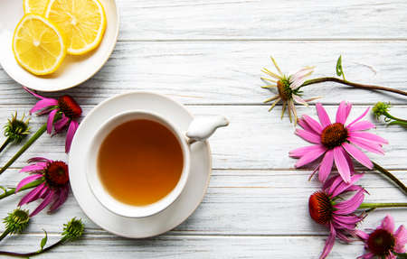 Echinacea tea with lemon and fresh flowers.