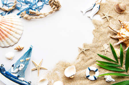 Seashells on sand. Sea summer vacation background with space for the text. Top view Reklamní fotografie