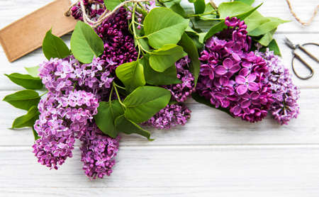 Lilac in flat style on white wooden background. Beautiful spring. Overhead view. Flat lay, top. Summer season. Natural spring style.