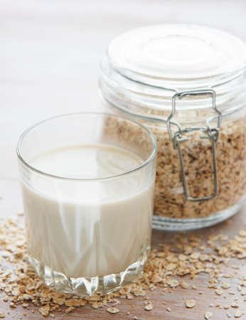 Vegan non dairy alternative milk. Oat flakes milk Stock fotó