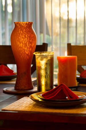 window shade: Dinner Setting At Dusk Stock Photo