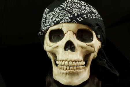 eye socket: Pirate skull with bandana Stock Photo