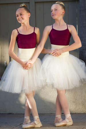recital: Two cute ballerinas getting ready for their recital