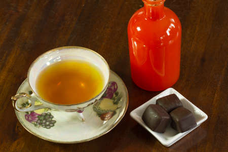 Tea served with chocolate truffles and aroma therapy
