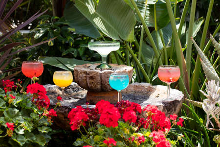 margaritas: Various colored Margarita drinks on a decorated fountain