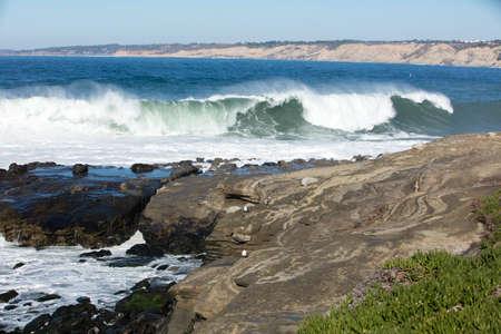 myst: High waves cresting and hitting the coastline at La Jolla California Stock Photo