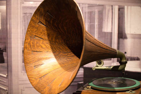phonograph: Vintage phonograph made of wood