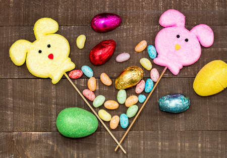 Easter Decorations and candy layed out on a table top