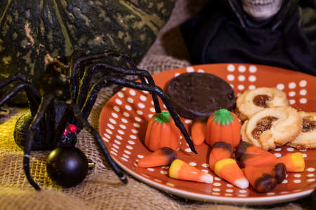 Halloween cookies, candy and decor for the holiday season