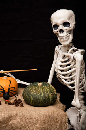 sackcloth: Halloween skeleton holding a brush and painting pumpkins and decorations for the celebration