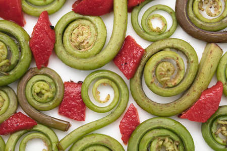 fiddlehead: Fiddlehead Ferns and red pepper pieces layed out on a white ceramic plate