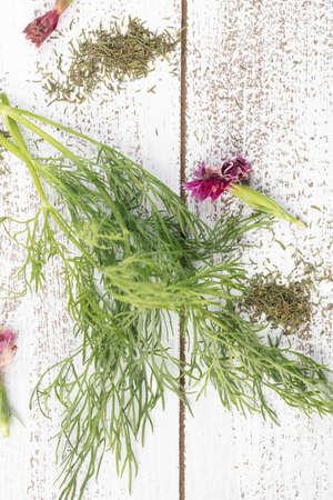 Fresh and dry dill herb with edible flowers on a rustic table top Imagens