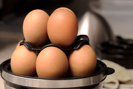 Eggs being cooked in an egg cooker for breakfast