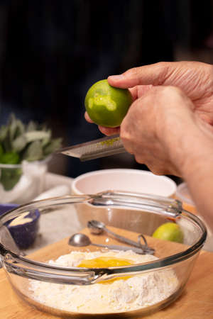 Pasta dough being made with flour and eggs during a pasta making class