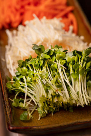 Julienne carrots, Enokitake Mushrooms and green radish sprouts cut up and used for making Sushi
