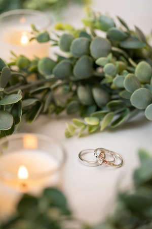Whtie gold and gold wedding bands on white fabric surrounded by greenery for a wedding ceremony