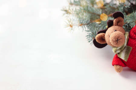 Handmade Christmas decorations: felt Christmas moose