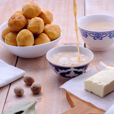 Asian traditional dish. Mongolian, Kalmyk, Buryat, Tibetan, Tuvan tea. Tea with milk, salt, butter, nutmeg, Bay leaf, black pepper. Cuisine of nomadic peoples.