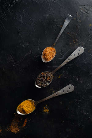 Various colorful spices top view Imagens