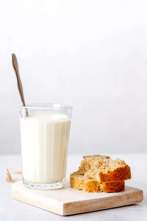 fermented baked milk on a wooden background