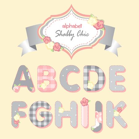 chic: vector alphabet. shabby chic. gray and pink