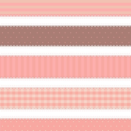 swatches: shabby chic. provence style. 5 backgrounds. brown and pink colors Illustration