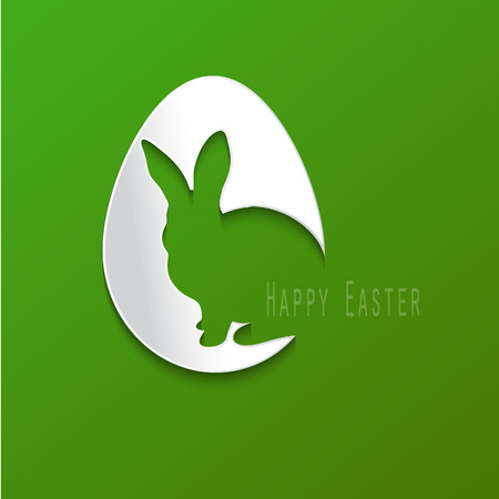 Happy Easter celebration card with l Easter egg and bunny