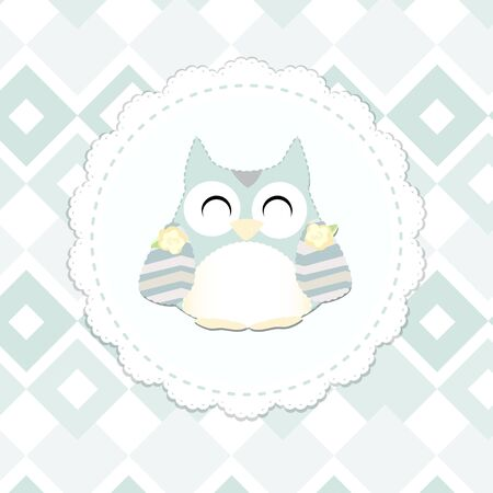 fashion set: cute little owl vector. shabby chic style. english style. congratulation card for girl. vector illustration. mint and gray color Illustration