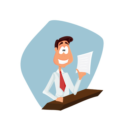 business reception: Business man cartoon character. vector illustration. check list, smiling. reception manager
