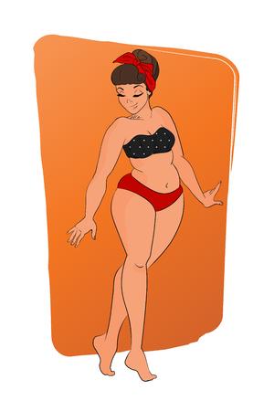 red hair girl: cartoon character. pin up style. Woman wearing bikini. isolated on orange background. retro fashion Illustration