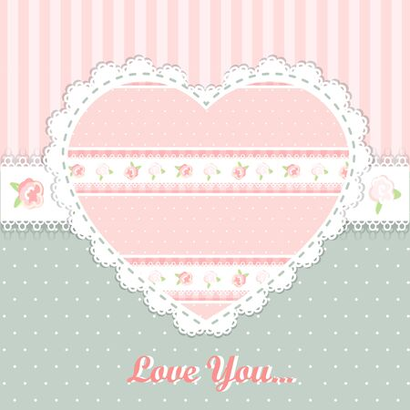 cellule: shabby chic. valentines day card. Illustration