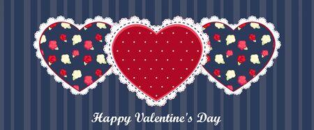 corazones azules: valentín feliz tarjeta del día. corazón rojo sobre fondo azul oscuro Vectores