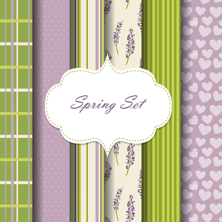 pattern set. hearts, flowers, stripes. green and violet color Vettoriali