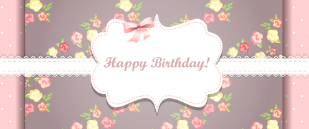 Cute pink happy birthday card. shabby chic Ilustrace