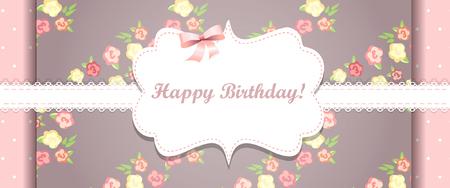 Cute pink happy birthday card. shabby chic Illustration