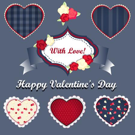 corazones azules: corazones de vectores conjunto vendimia. elementos para la decoración. shabby chic. Feliz día de San Valentín Vectores