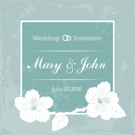 Marriage design template with custom names in square floral frame. wedding invitation. hibiscus. blue background