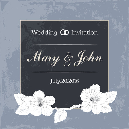 photoalbum: Marriage design template with custom names in square floral frame. wedding invitation. hibiscus. blue background