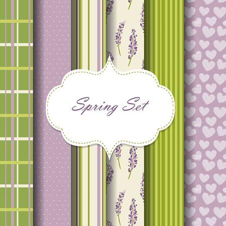 cellule: pattern set. hearts, flowers, stripes. green and violet color Illustration