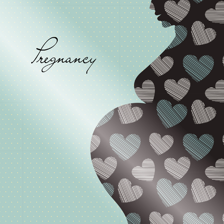 women s health: Pregnant beautiful woman silhouette. vector illustration. can be used as cover or congratulation card