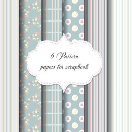 6 patterns. paper for scrapbook. vector backgrounds. frame.