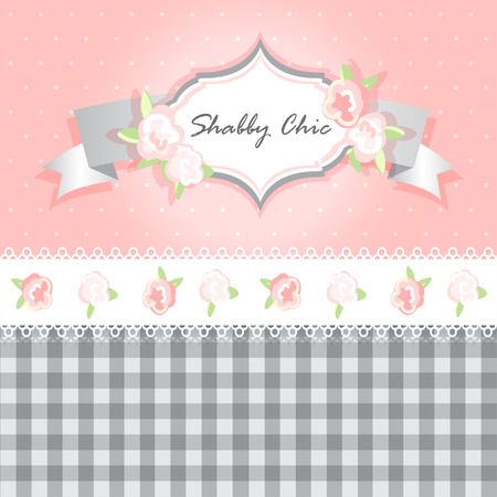 cellule: shabby chic. provence style. invitation or congratulation card. floral frame with lace. gray and pink.