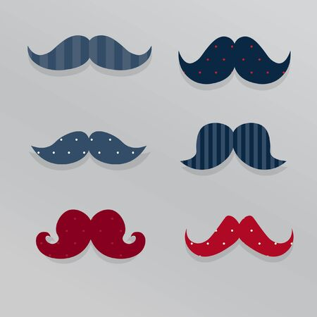 mustaches: Cute mustaches set. Vector. 6 mustaches with shabby chic design Illustration
