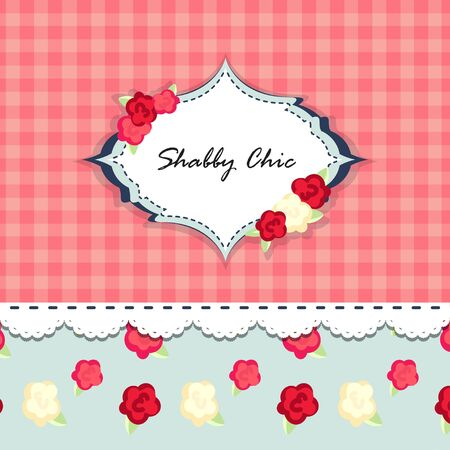 shabby chic. provence style. invitation or congratulation card. floral frame. red blue yellow pink