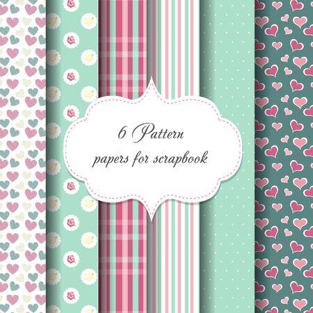 compendium: 6 patterns. paper for scrapbook. vector backgrounds. frame.